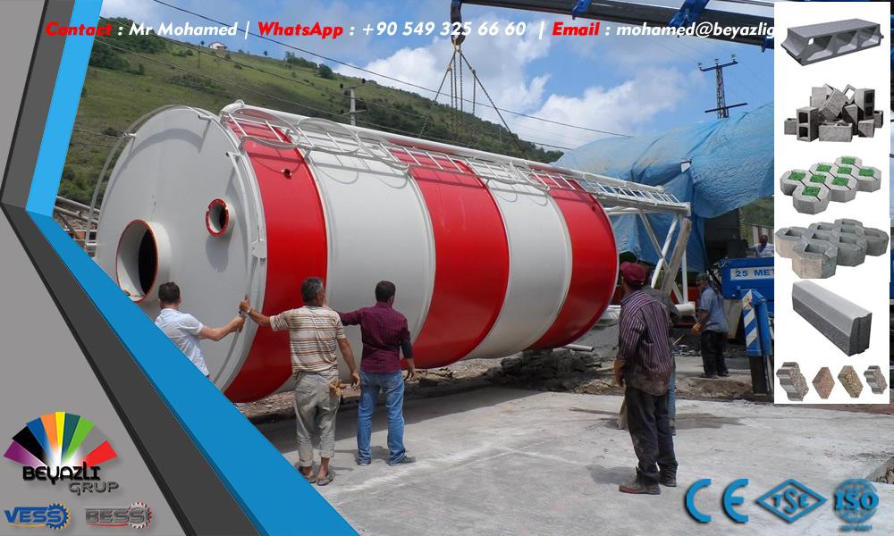 Silos à Ciment de capacité 100 Tonnes